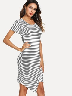 Overlap Hem Striped Fitted Dress