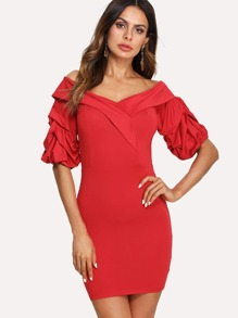Gathered Sleeve Fold Off Shoulder Dress