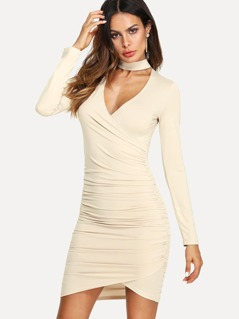 Choker Neck Ruched Wrap Dress
