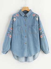 Flower Embroidered Curved Dip Hem Denim Shirt