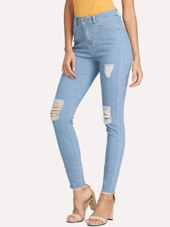 Light Wash Rips Detail Jeans