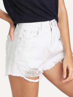 White Wash Destroyed Denim Shorts