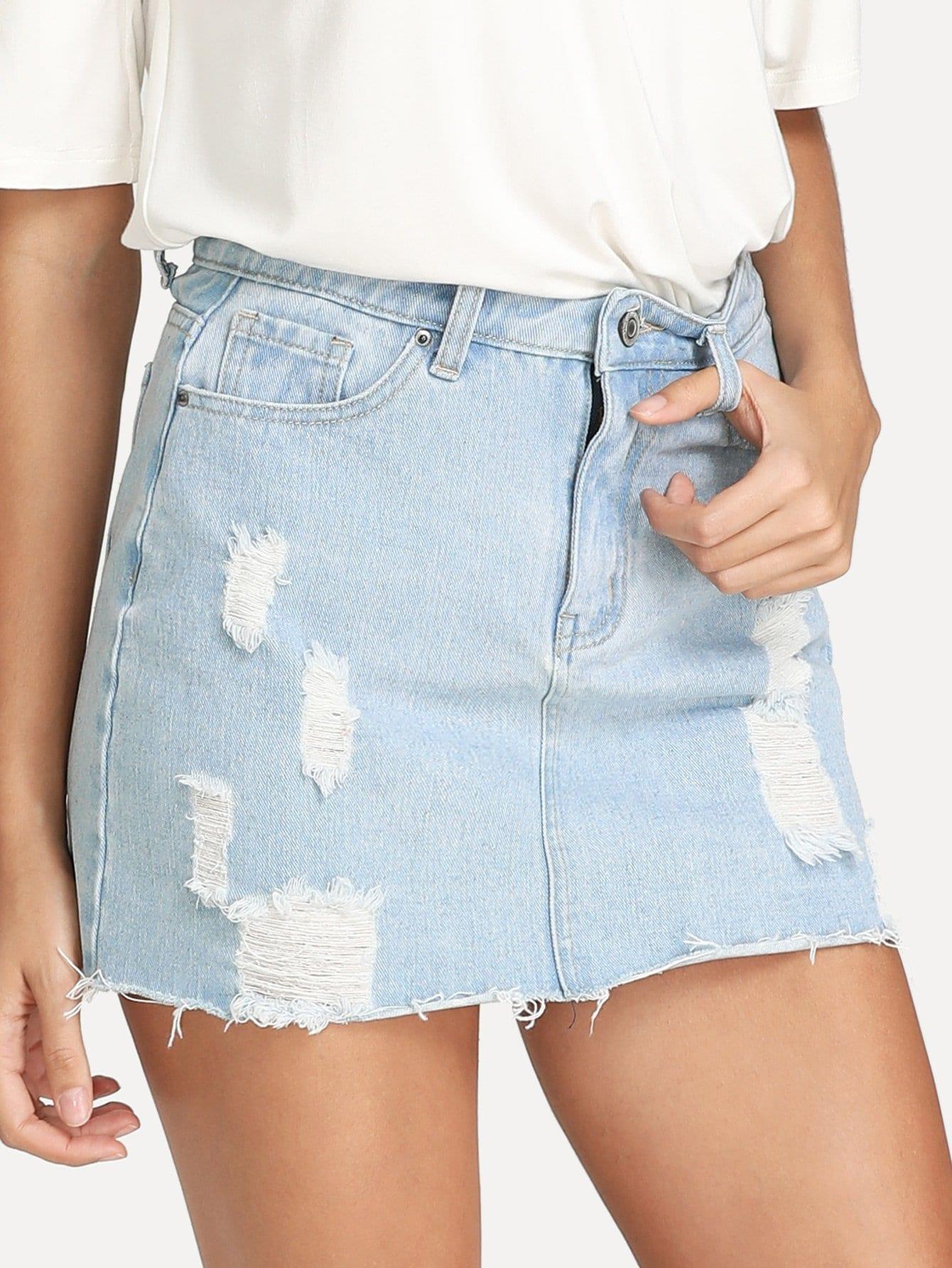 Raw Hem Ripped Denim Skirt ripped raw hem denim skirt
