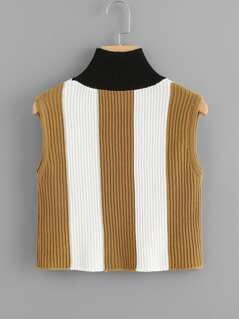 High Neck Striped Sleeveless Sweater
