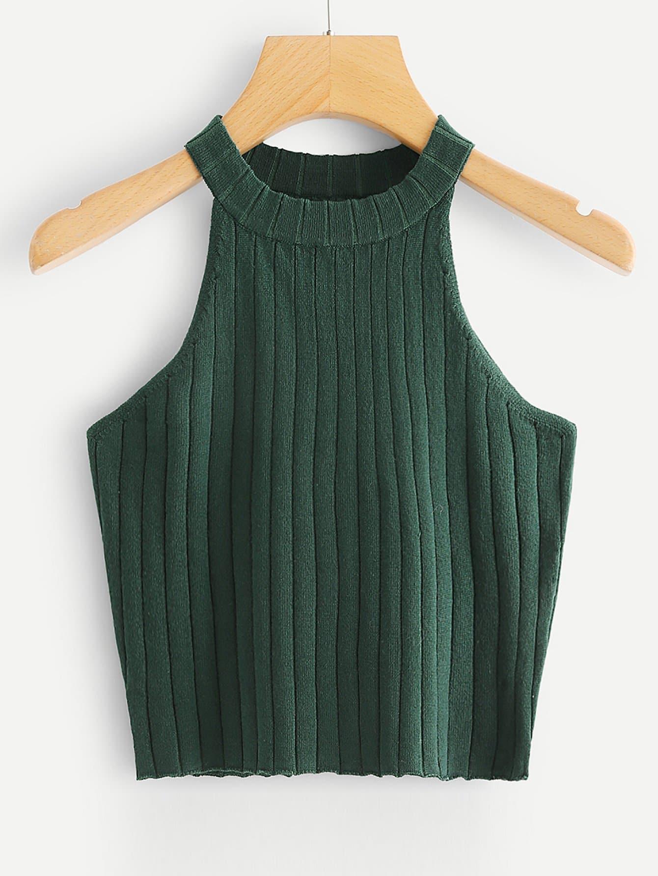 Rib Knit Halter Top rib knit halter top