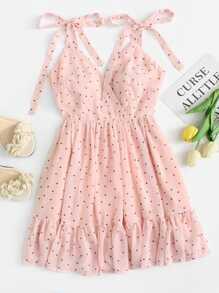 Polka Dot Ruffle Hem Cami Dress