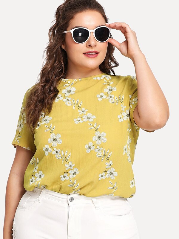 Button Keyhole Back Blossom Print Top by Shein
