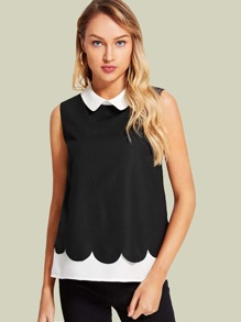 Contrast Collar And Hem Keyhole Back Top