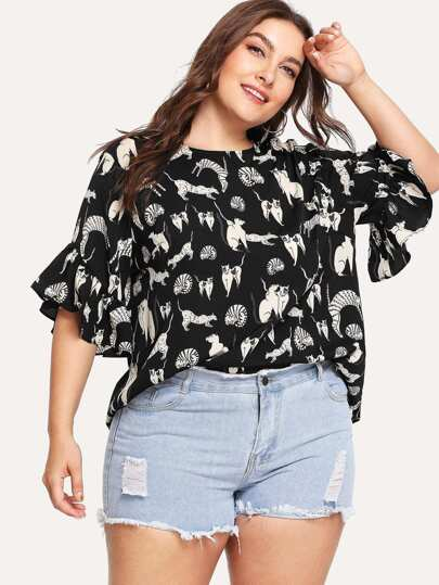 Allover Cat Print Ruffle Sleeve Top