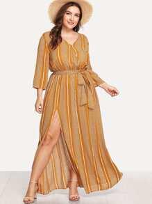 High Split Striped Wrap Dress