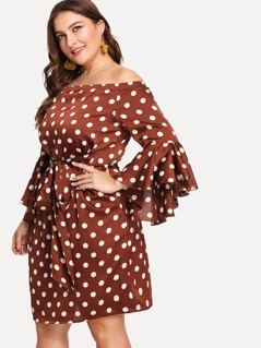 Plus Trumpet Sleeve Belted Polka Dot Bardot Dress