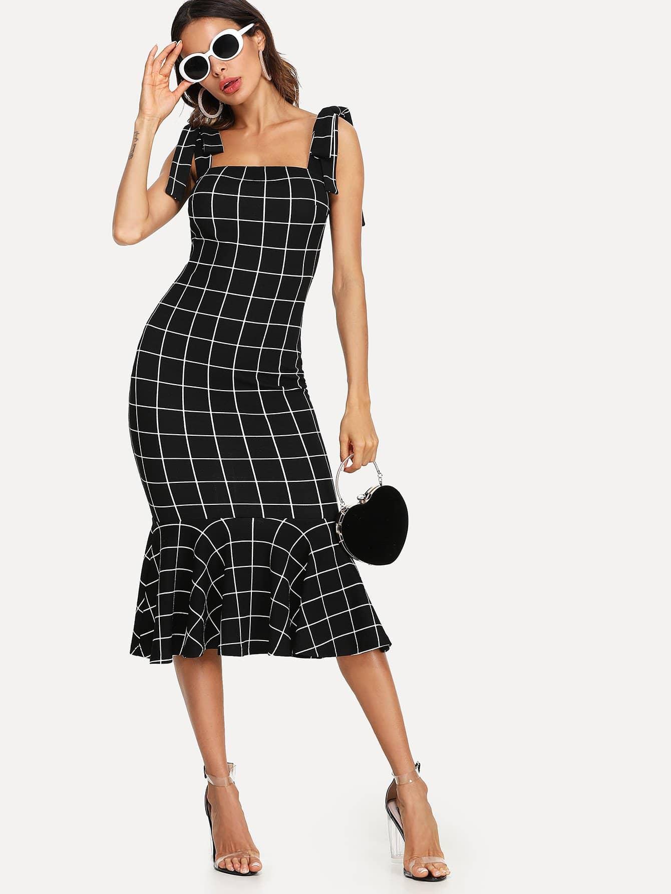 Ruffle Hem Grid Dress With Tied Strap wrap front tied v back ruffle hem dress