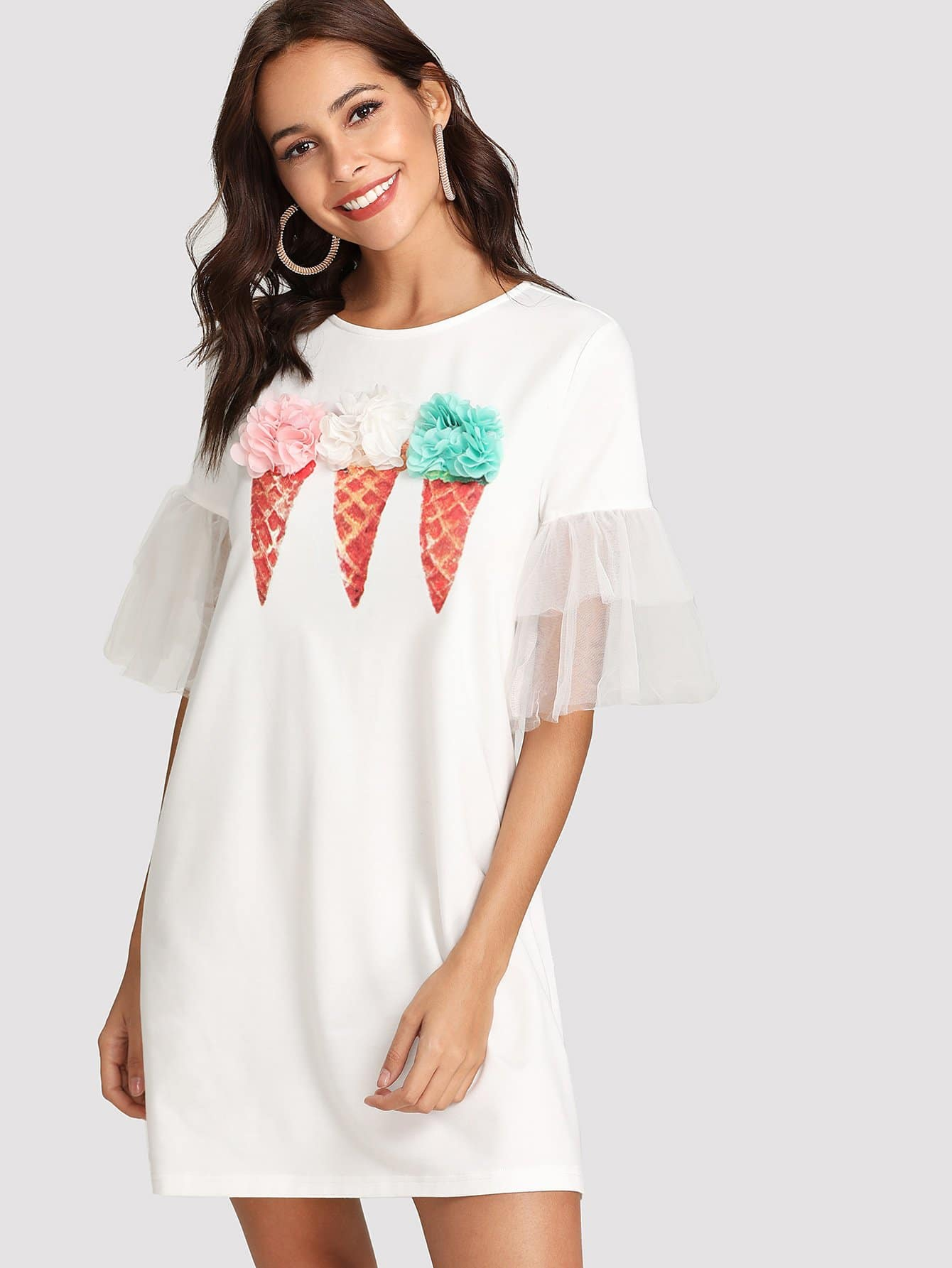 Tiered Mesh Sleeve Applique Ice-Cream Dress swan print tiered mesh dress