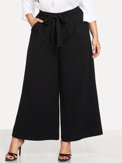 Plus Self Belted Palazzo Pants
