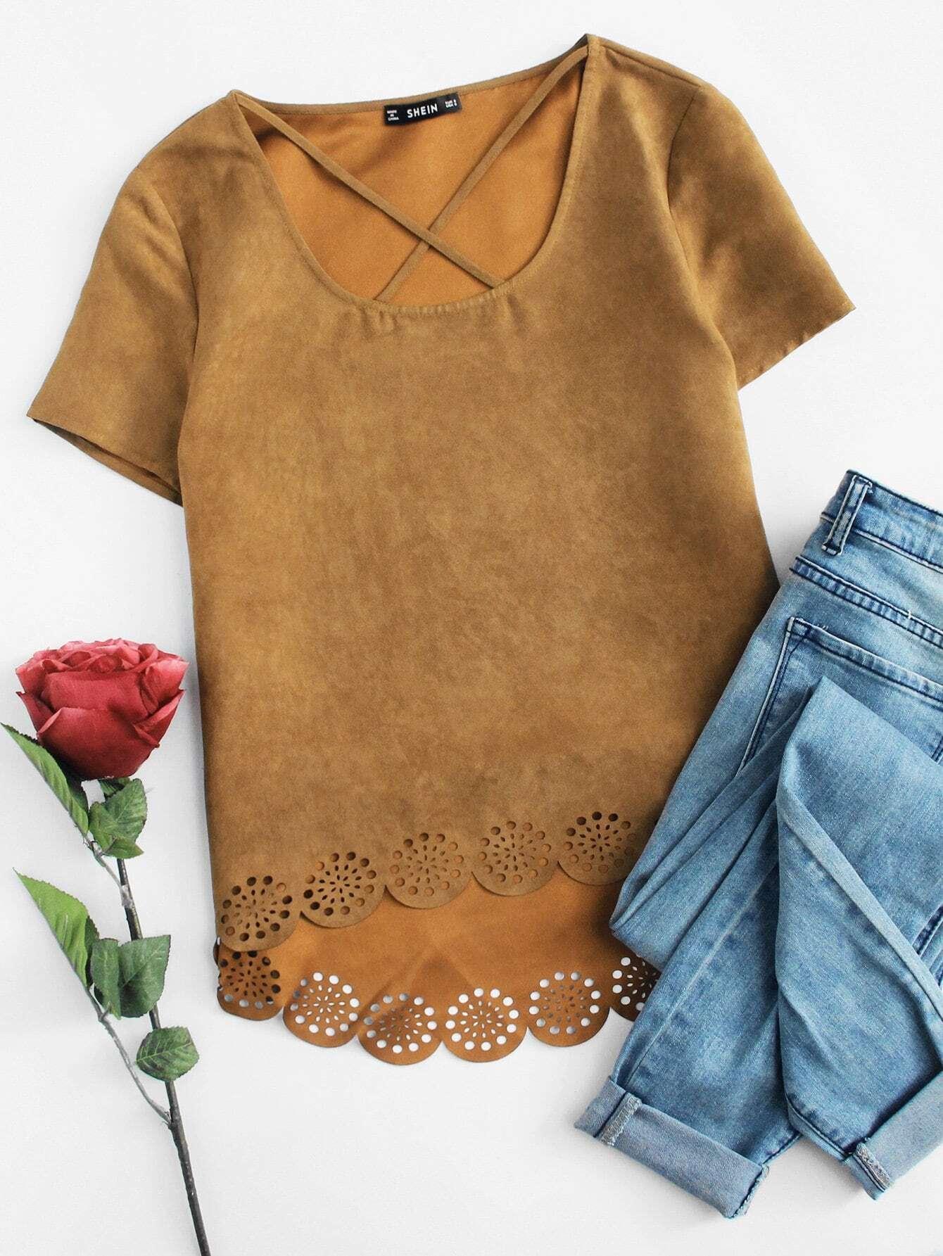 Модная асимметричная футболка с фестонами, null, SheIn  - купить со скидкой