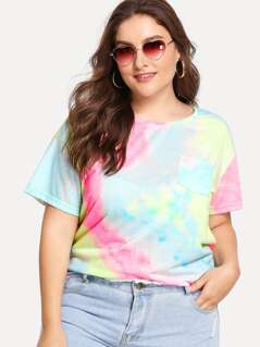 Plus Pocket Patched Tie Dye Tee