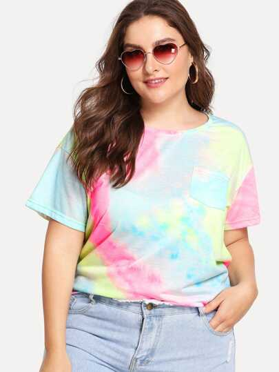 Pocket Patched Tie Dye Tee