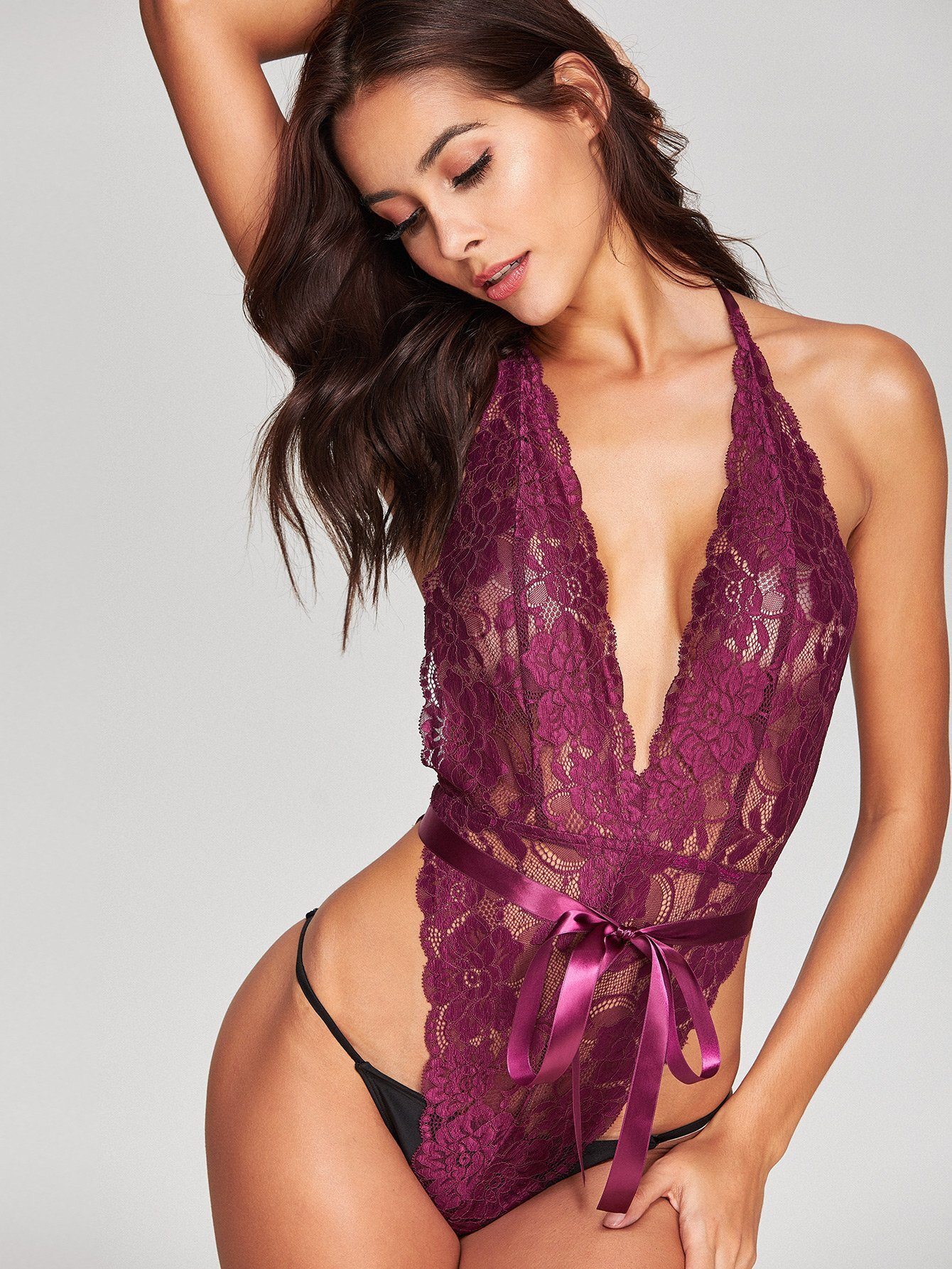 Ribbon Tie Waist Open Back Halter Sheer Lace Teddy flounce embellished sheer lace teddy