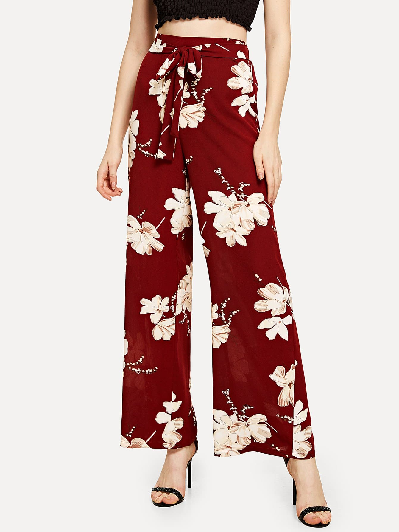 Tie Waist Wide Leg Floral Pants bow tie side wide leg pants