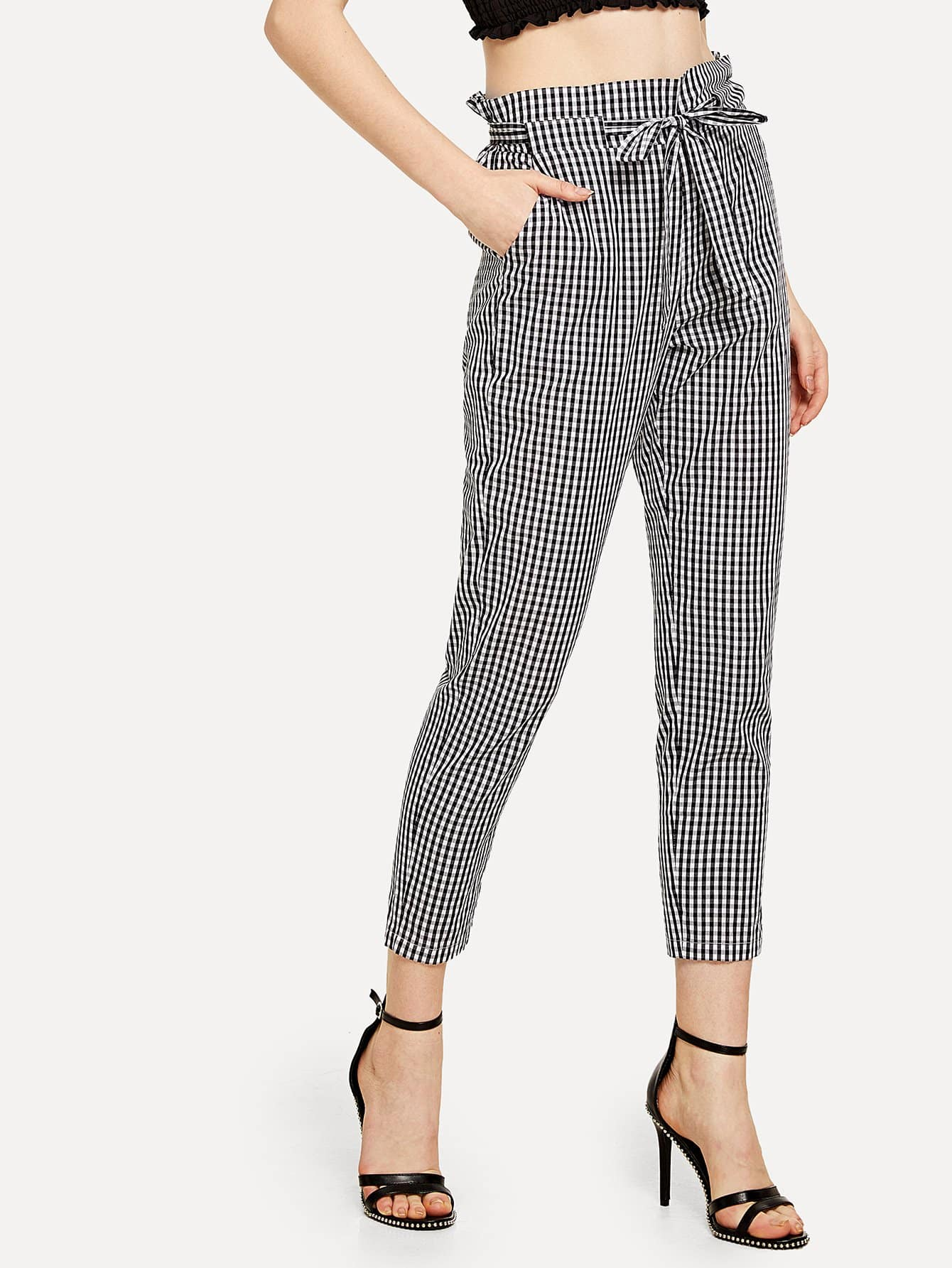 Self Tie Waist Pocket Side Plaid Pants pocket side elastic waist pants