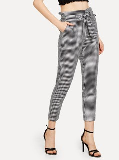Self Tie Waist Pocket Side Plaid Pants