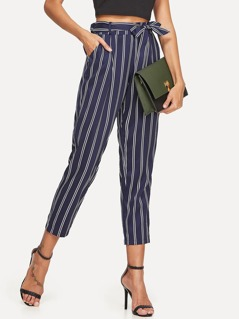 Self Belt Tapered Striped Pants