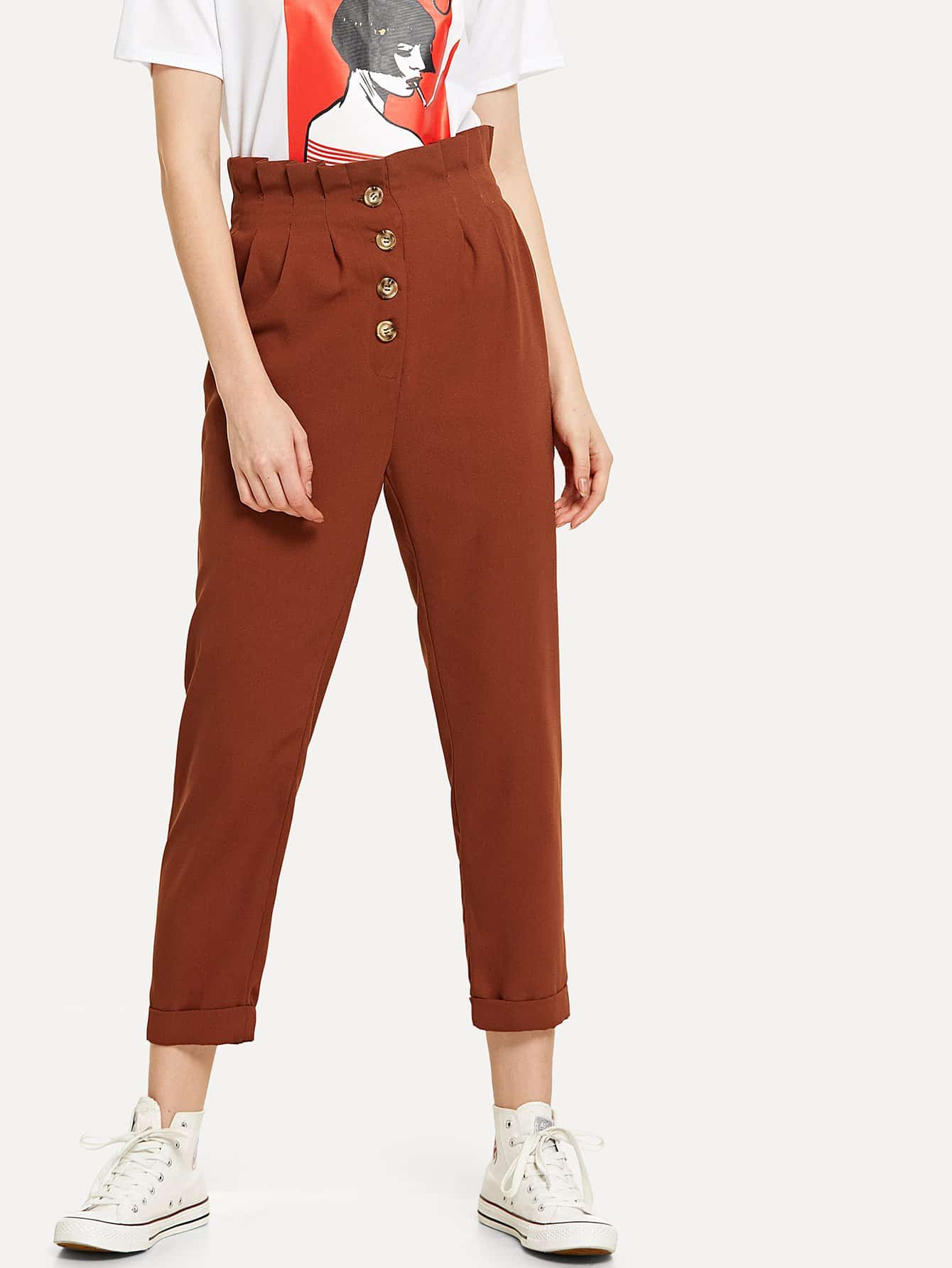 Button Up Frill Trim Rolled Hem Pants solid rolled hem pants