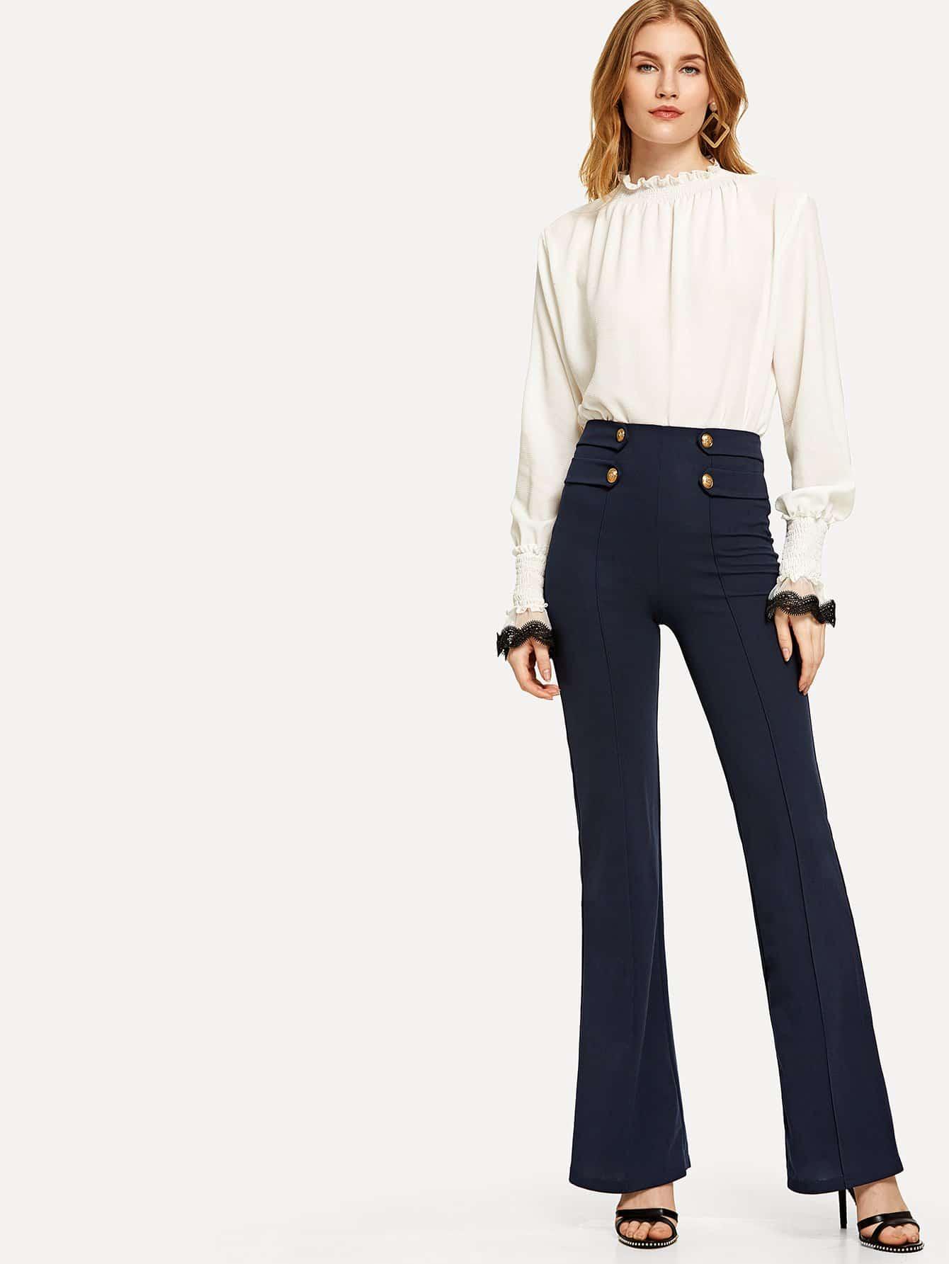 Button Embellished Flared Leg Pants zip back flared pants