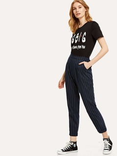 Pocket Side Rolled Hem Striped Pants