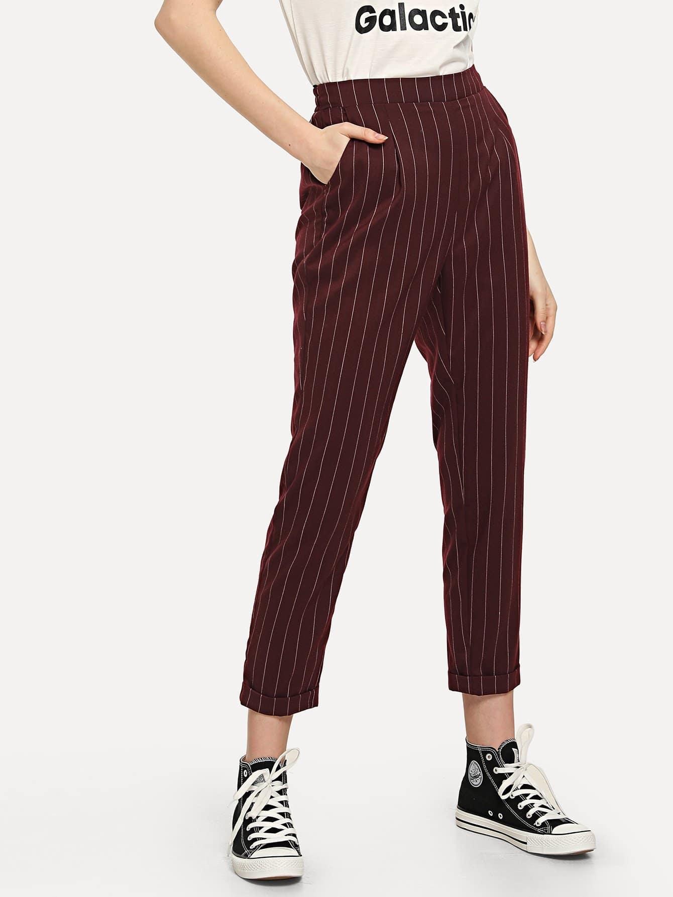 Pocket Side Rolled Hem Striped Pants solid rolled hem pants