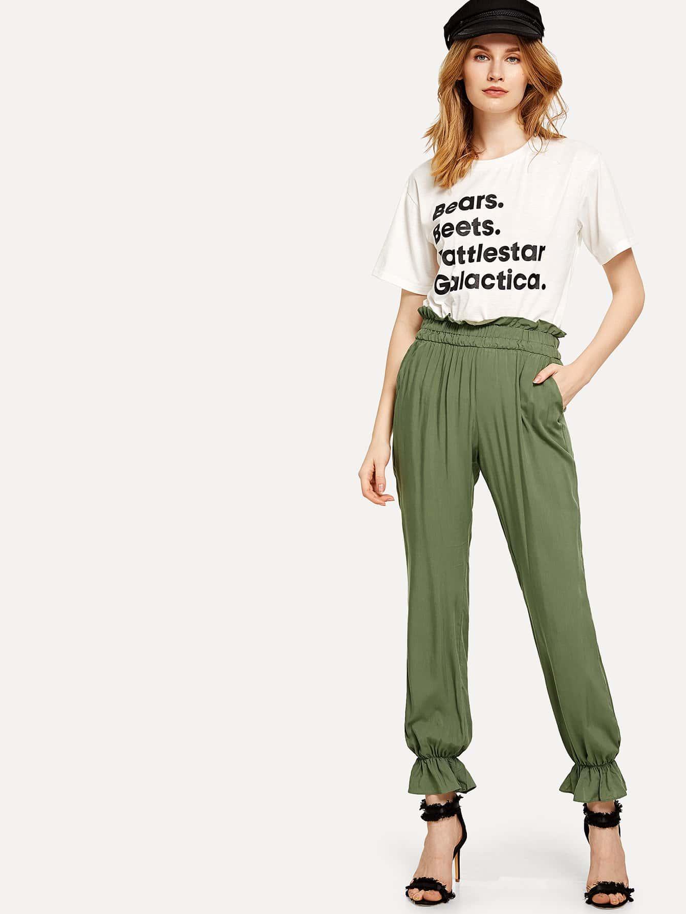Wide Waistband Ruffle Hem Pants buttoned wide waistband palazzo pants with strap