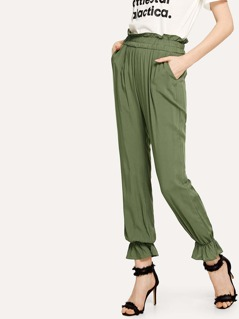 Wide Waistband Ruffle Hem Pants