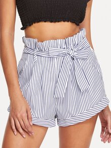 Tie Waist Pocket Side Striped Shorts