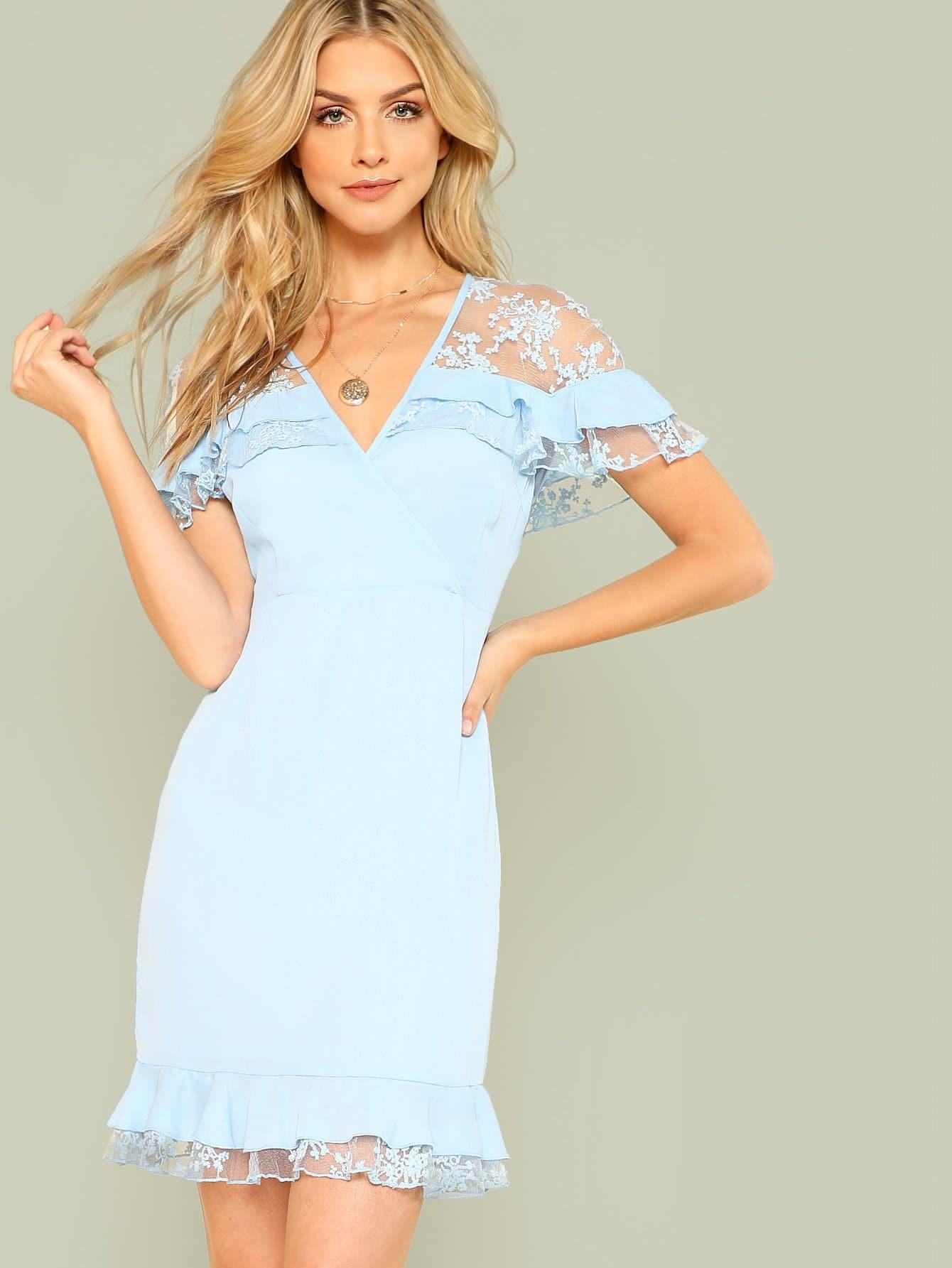 Lace Insert Ruffle Trim Wrap Dress