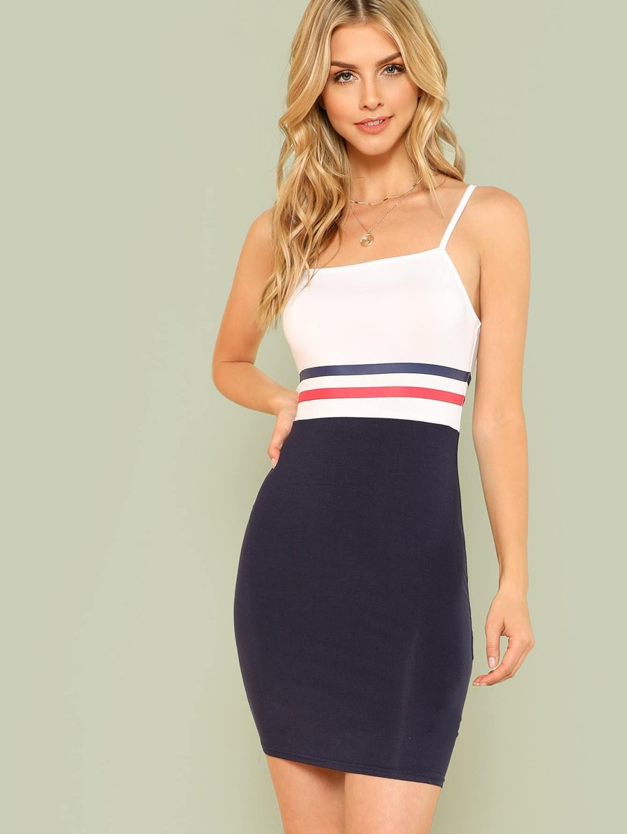 Striped Print Color Block Cami Dress by Shein