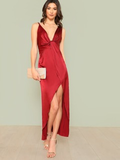 Plunge Neck Gathered Front Open Back Satin Dress