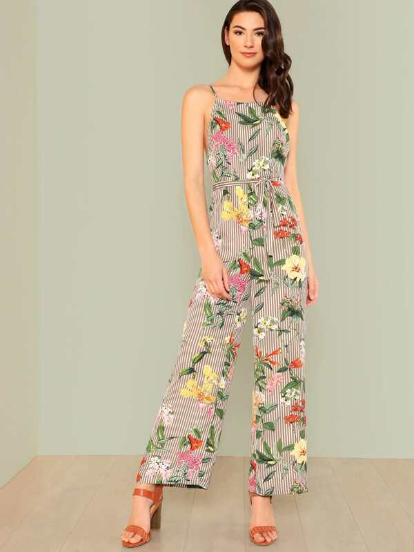 Backless Wide Leg Striped & Floral Jumpsuit by Shein