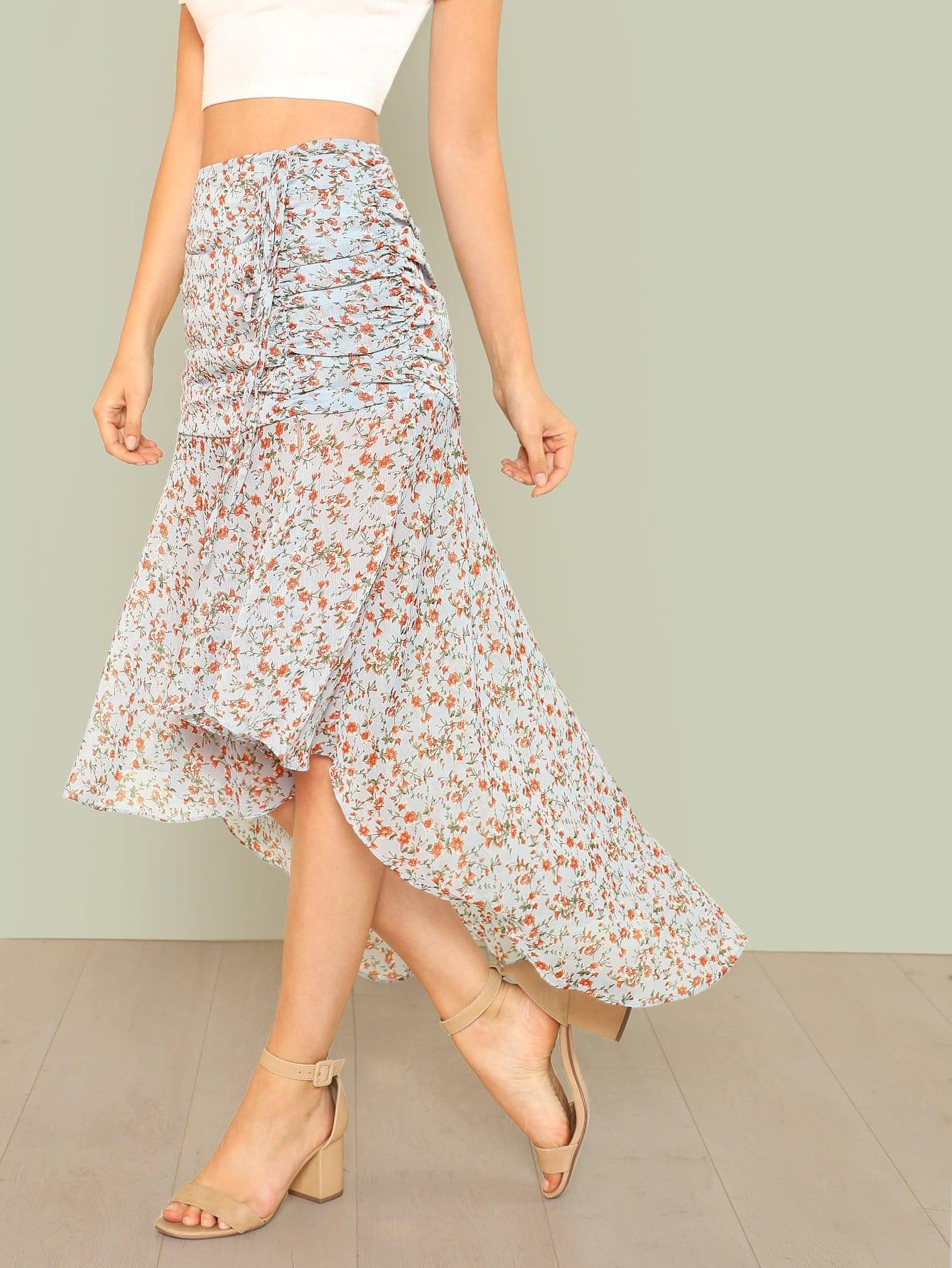 Ruched Calico Print Dip Hem Skirt calico print dip hem top