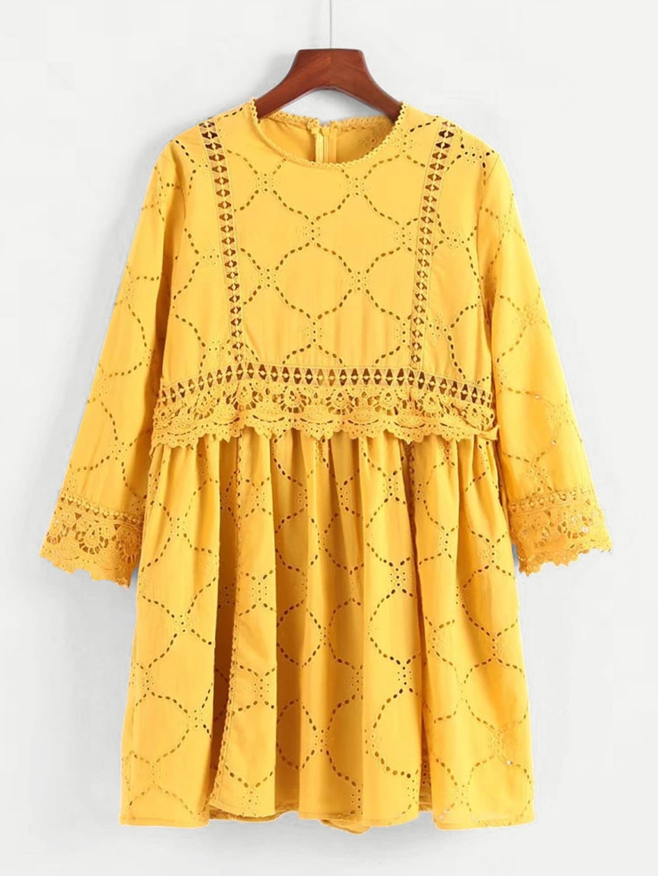 Lace Panel Embroidered Eyelet Dress eyelet embroidered self belted dress