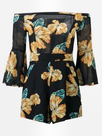All Over Florals Bardot Chiffon Romper