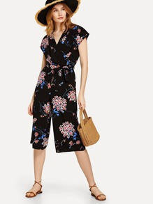 Botanical Print Surplice Neckline Belted Crop Jumpsuit