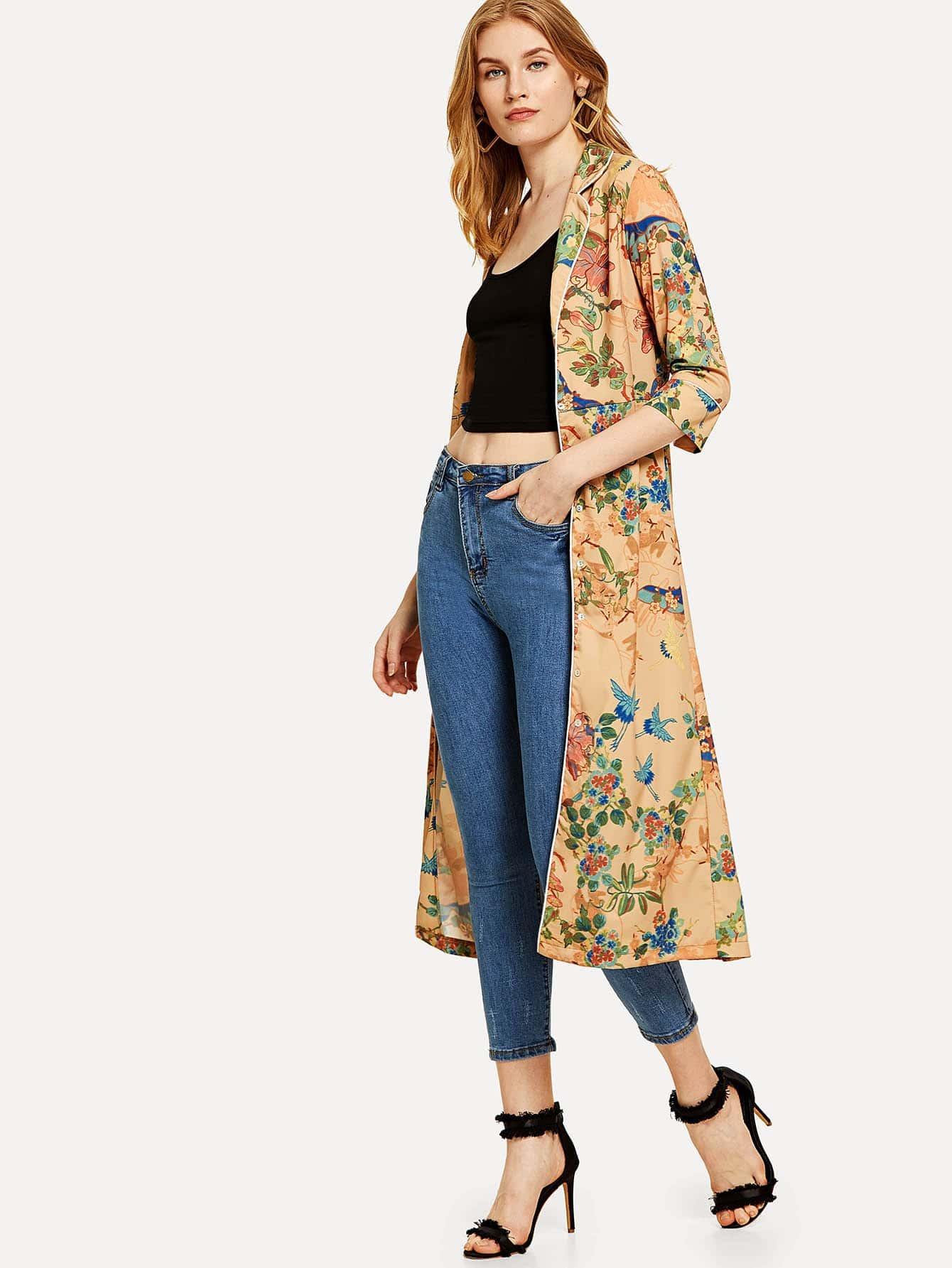 Contrast Binding Botanical Longline Coat contrast binding ruffle hem botanical shorts