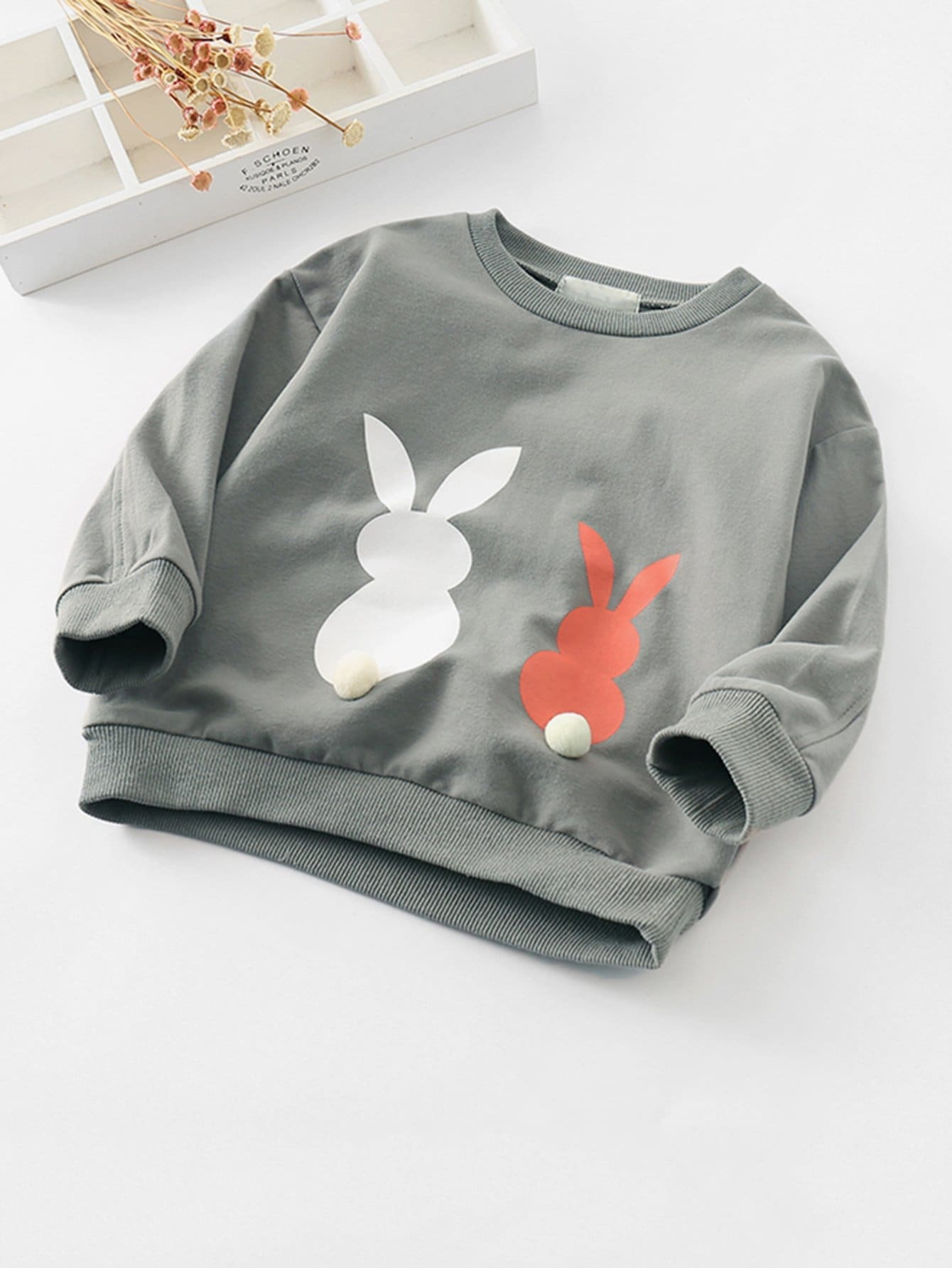 Rabbit Pattern Pom Pom Pullover pom pom ball applique rabbit print pullover