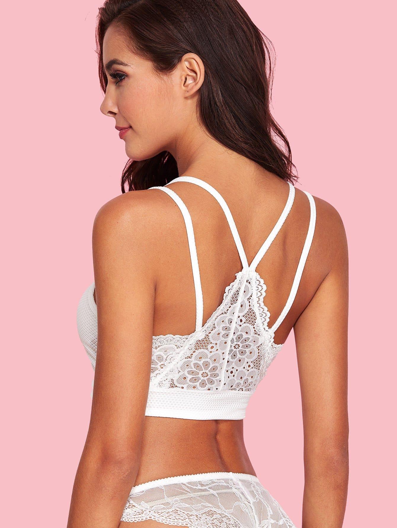 Floral Lace Bralette lace longline bralette