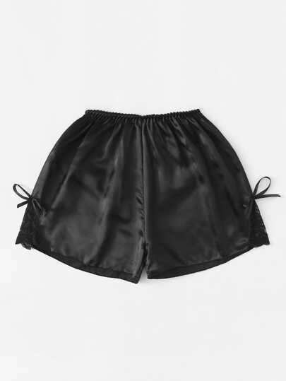Lace Detail Satin Shorts