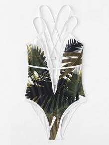 Jungle Print Criss Cross Swimsuit