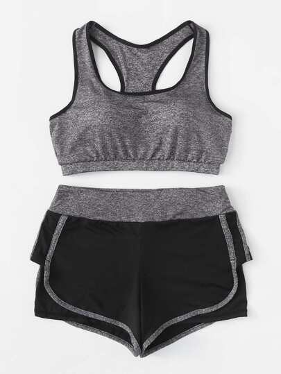 Contrast Trim Sports Bra And Shorts