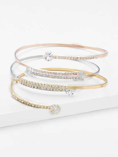 Rhinestone Wrap Bangle 3pcs