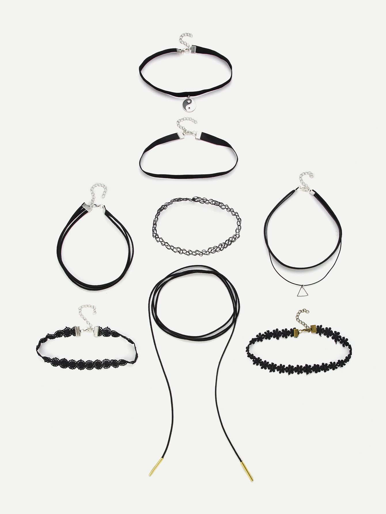 Triangle Pendant Choker Necklace 8pcs triangle fringed paillette pendant necklace
