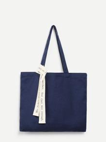 Canvas Shoulder Bag With Letter Strap